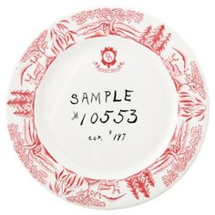 """Boesky Brothers sample. Markings under the glaze. One-of-a-kind """"guide"""" plate for production, O.P. Co. / Syracuse China. Quantity of 1."""