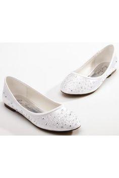 Rhinestone Satin Round Toe Flat Wedding Shoes e34ca8da5a28