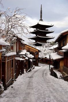 Yasaka pagoda but like I've never seen it.  Snow sitting like this is so rare in…