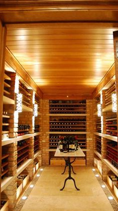 Brick & concrete slab wine room, would be nice with plaster ceiling. Liederbach and Graham Architects
