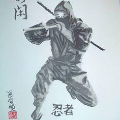 Ninja warrior and his sword, the ninjato