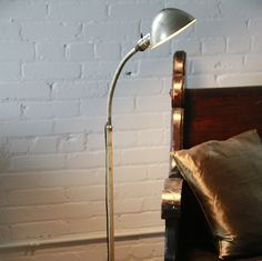 Original early 20th century vintage american industrial white brass floor lamp fabricated by s. robert schwarts