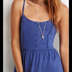 Babydoll Cami dress brand new w/tags New with tags Forever 21 baby doll cami dress with lace paneling, adjustable straps. 100 % cotton. Size Large. Forever 21 Dresses Mini