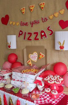 """""""Love You to Pizzas"""" Valentine's Day Pizza Party - Just Add Confetti - Valentine's Day pizza party, valentines day, you have a pizza my heart, love you to pizzas, partn - Valentines Day Pizza, Kinder Valentines, Valentine Theme, Valentines Gifts For Boyfriend, Valentines Day Decorations, Valentine Day Crafts, Fun Valentines Day Ideas, Valentine Day Boxes, Vintage Valentines"""