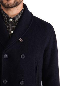 HARTFORD Boil Wool Peacoat in Navy - New