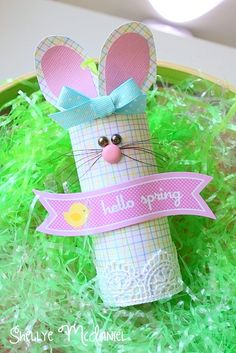 Toilet Paper Roll Bunny, Mrs. Hop!  Created with Doodlebug Designs' Hello Spring Collection