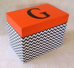 Recipe Box - Black Chevron and Orange Recipe Box - Wooden Recipe Box- Personalized Recipe Box- Gift Black Chevron, Orange Recipes, Personalised Box, School Colors, Recipe Box, Handmade Gifts, Outdoor Decor, Etsy, Home Decor