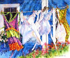 by Nicole Gelina Laundry Art, Laundry Drying, Cool Paintings, Beautiful Paintings, Watercolor Paintings, Watercolours, Arts Ed, Lost Art, Watercolor Techniques