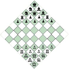 Diagonal Chess by David Howe (graphic of initial board layout)