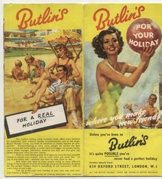#Butlins #Holiday #Camp c#1950's #Brochure Fold out #advertising #Vintage #collectable #wonderful #artwork