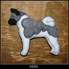Akita ornament or magnet-Handmade embroidered felt-original design-great gift for you or your dog loving friends.