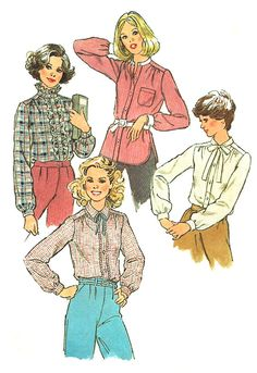 1970s Blouse Pattern Simplicity Vintage Sewing Ruffled Top Tie