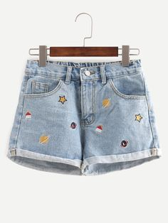 Embroidered Cuffed Denim Shorts Only US$14.00