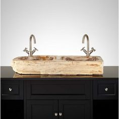 A double-bowl layout makes the Grisha Sink perfect for a shared bathroom. Both interiors are smoothly polished to keep water flowing to the drain. Organically formed markings within the petrified wood deliver a one-of-a-kind look. Complete the update by a Granite Composite Sinks, Drop In Sink, Basin Design, Bathroom Design Inspiration, Bowl Sink, Vessel Sink Bathroom, Bowl Designs, Washing Dishes, Petrified Wood
