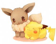 Eevee and Pikachu. #Pokemon