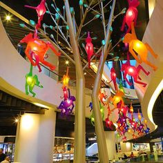 """WESTFIELD SYDNEY FOOD COURT, Sydney, New South Wales, Australia, """"Going wild with many monkeys"""", for Vivid Sydney, pinned by Ton van der Veer"""