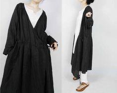 421-Linen Wrap Dress / Jacket, Dark Gray Linen Twill Outerwear.