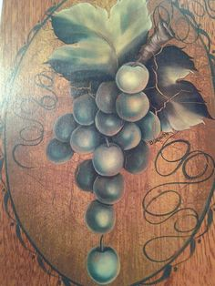 Close up of green grapes from Priscilla Hauser's beautiful book, Painting Patterns.