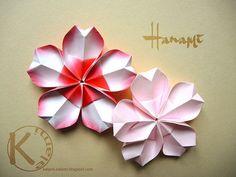 Hanami by Kalami; diagram plus video #origami #CherryBlossom