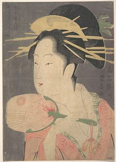 A Beauty  Chôkôsai Eishô  (Japanese, active 1792–1801)  Period: Edo period (1615–1868) Culture: Japan Medium: Polychrome woodblock print; ink and color on paper