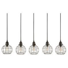 Showcasing 5 lights and openwork iron shades, this eye-catching pendant adds industrial-chic appeal to your dining room or kitchen decor.  ...