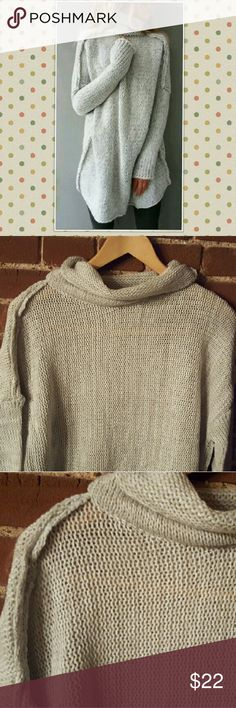 """Light Heather Gray Oversized Loose Knit Sweater M LAST ONE!!  Liight Heather Gray Oversized Loose Knit Sweater size Medium  Very oversized, comfy, cozy fit. Great over leggings.  30"""" Long 24"""" across Bust  Sweater is same light gray color as stock photo pic. (My lighting was a bit off.)  From a smoke-free, but 1 dog-friendly home. Sweaters"""