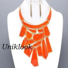 SOLID Orange Gold Panel PATCHWORK Design Jewelry Bib Necklace Earring SET