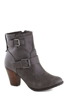 Language Tutor Boot - Mid, Faux Leather, Grey, Buckles, Good, Solid, Fall
