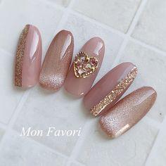 Rose Nails, Gel Nails, Golden Rose Nail Polish, Korea Nail Art, Snowflake Nail Art, Korean Nails, Valentine Nail Art, Kawaii Nails, Cat Eye Nails