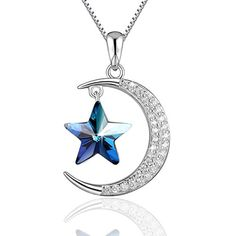 Moon and Star Neckalce PLATO H 925 Sterling Silver Star  Moon Pendant Necklace with Swarovski Crystals Mothers Day Gifts for Her 18 * Want to know more, click on the image.Note:It is affiliate link to Amazon.