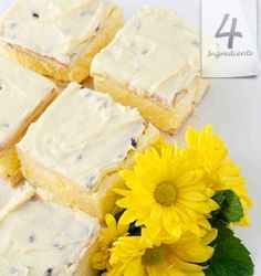 Easy Vanilla Slice with delicious Passion Fruit on top - A Family favourite and so easy to make. Delicious Cake Recipes, Yummy Cakes, Sweet Recipes, No Bake Snacks, No Bake Treats, Cheap Meals, 4 Ingredients, Tray Bakes, No Bake Cake