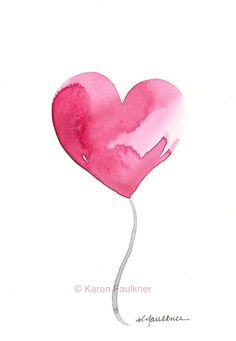 Art, Print, Giclee Print of Watercolor Heart: Hello Love