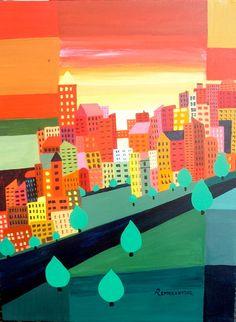 City Sunrise - original painting - PAYMENT PLAN CONSIDERED via Etsy