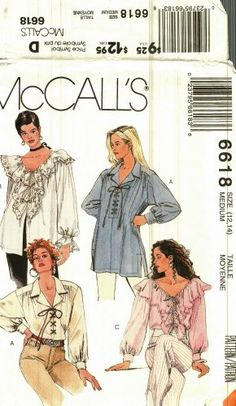 McCall's 6618 Pattern Uncut 12 14 Boho Peasant Lace Up Ruffle Blouses Tops(This pattern has been sold. Click through to see if I have something else you would like. Or follow this board because if I find another one of these patterns, I'll post it on Pinterest.)