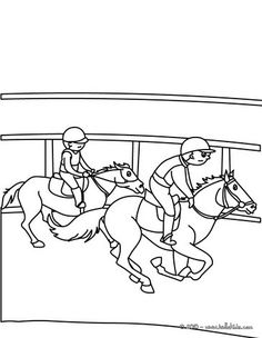 Cute Kids In Horse Competition Coloring Page More Sports Pages On Hellokids
