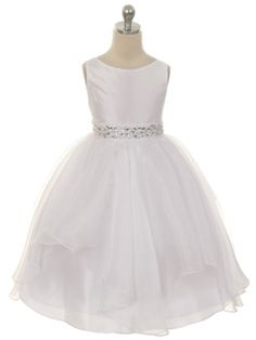 White Fabulous Taffeta and Organza Overlay with Rhinestone Waist First Communion Girl Dress (Available in Sizes 2-12)