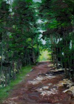 """""""Quiet Pathway~ 5x7~ oil on linen"""" - $50.00 Original Fine Art for Sale - © Vincenza Harrity"""