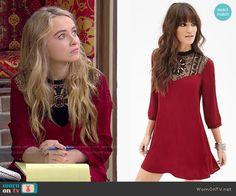 Maya's red crochet panel dress on Girl Meets World.  Outfit Details: http://wornontv.net/50380/ #GirlMeetsWorld