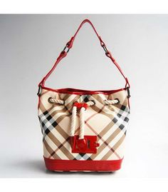 Burberry Canvas with Red Leather Shoulder Bag