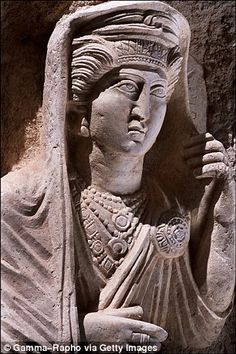 A funerary bust of a Palmyrean woman in Tomb H, in the southeast necropolis of Palmyra