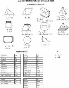 geometry formulas and abbreviations -- grade 7-8