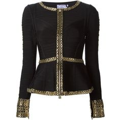 Hervé Léger Lida Peplum Jacket (216205 DZD) ❤ liked on Polyvore featuring outerwear, jackets, blazer, coats, peplum blazer, peplum blazer jacket, hervé léger, blazer jacket and long sleeve peplum jacket