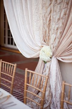 Love that they used different fabrics for the #Draping   See the wedding on SMP: http://www.StyleMePretty.com/2014/01/24/saratoga-wedding-at-villa-montalvo/ Photography: Christina McNeill