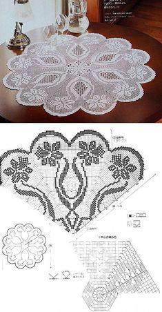 Crochet Flower Patterns, Crochet Mandala, Tapestry Crochet, Doily Patterns, Crochet Flowers, Filet Crochet Charts, Crochet Diagram, Crochet Tablecloth, Crochet Doilies