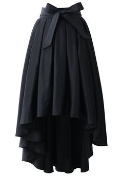 Bowknot Asymmetric Waterfall Skirt in Black - Skirt - BOTTOMS - Retro, Indie and Unique Fashion Unique Fashion, Modest Fashion, Womens Fashion, Fashion Trends, Fashion Dresses, Chicwish Skirt, Black Pleated Skirt, Pleated Skirts, Long Black Skirts