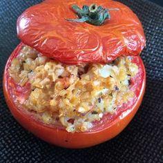 Tomates farcies au boulgour, champignons et parmesan