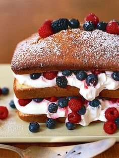 of July Red White and Blue Desserts Lemon pound cake w/vanilla whip and fresh berries.Lemon pound cake w/vanilla whip and fresh berries. Blue Desserts, Just Desserts, Delicious Desserts, Dessert Recipes, Yummy Food, Dessert Healthy, Cupcakes, Cupcake Cakes, Pound Cake Recipes