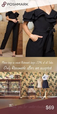 aff8ea08f651 Ruffle Cold Shoulder Jumpsuit Will arrive next week! S 2-