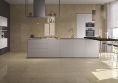 Warm beige tones capture the essence of Brera, a Portuguese limestone, and combine it with the practicality of porcelain in this newly introduced collection. Available in four large format size variations, and two finishes. Plank Flooring, Vinyl Flooring, Floors, Kitchen Tiles, Kitchen Cabinets, Kitchen Reno, Kitchen Living, Large Format Tile, Kitchen Showroom