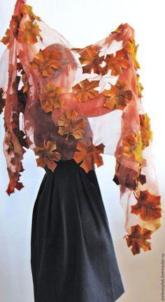 """Купить Палантин """"Золотая осень"""" - кленовый лист, клен, листья, осень, желтый…"""